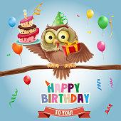 happy Birthday with owl card