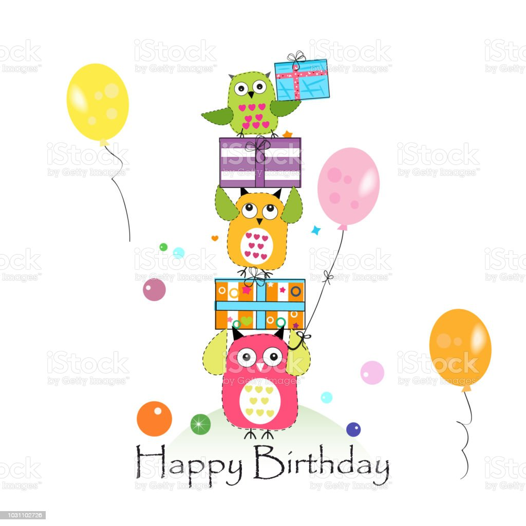 Happy birthday with owls and gift box baby birthday greeting card happy birthday with owls and gift box baby birthday greeting card royalty free happy m4hsunfo
