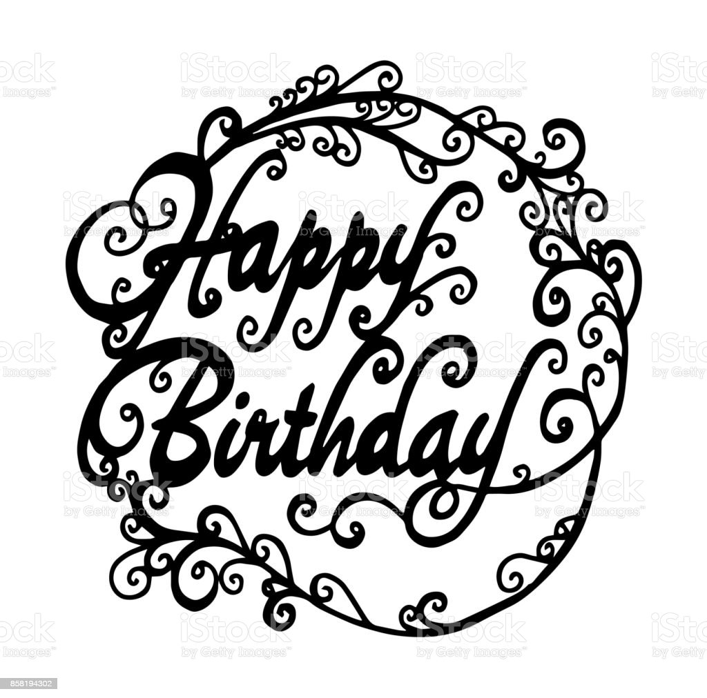 happy birthday words isolated calligraphy lettering vector