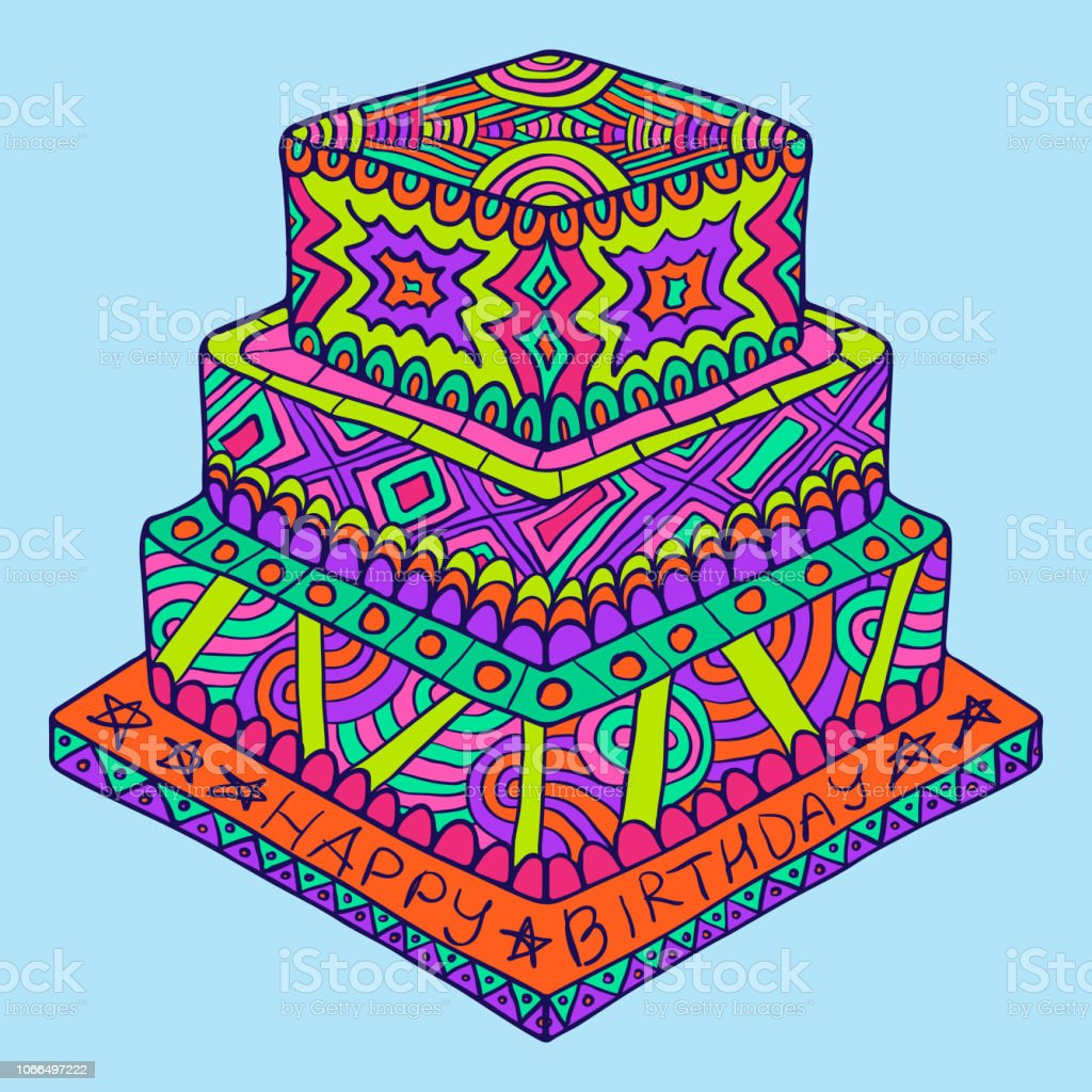 Happy Birthday Zentangle Cake Birthday Doodle Cake Simple Creative