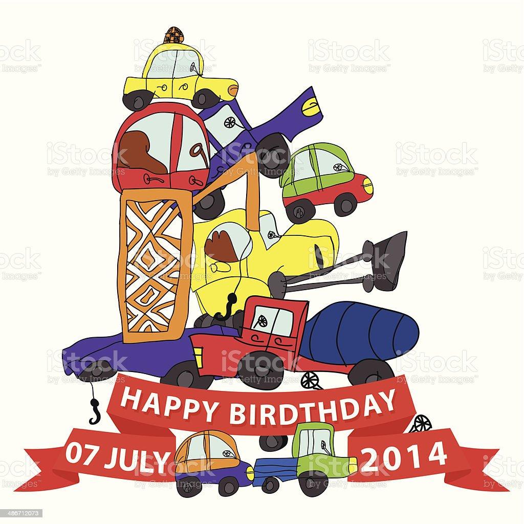Happy BirthdayChilds Hand Zeichnen Doodle Komposition CarsFunny Lizenzfreies Birthdaychilds