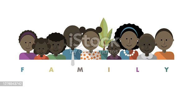 istock Happy Black, African, African American Parents and children Smiling Family Portrait Avatar Picture 1276543742