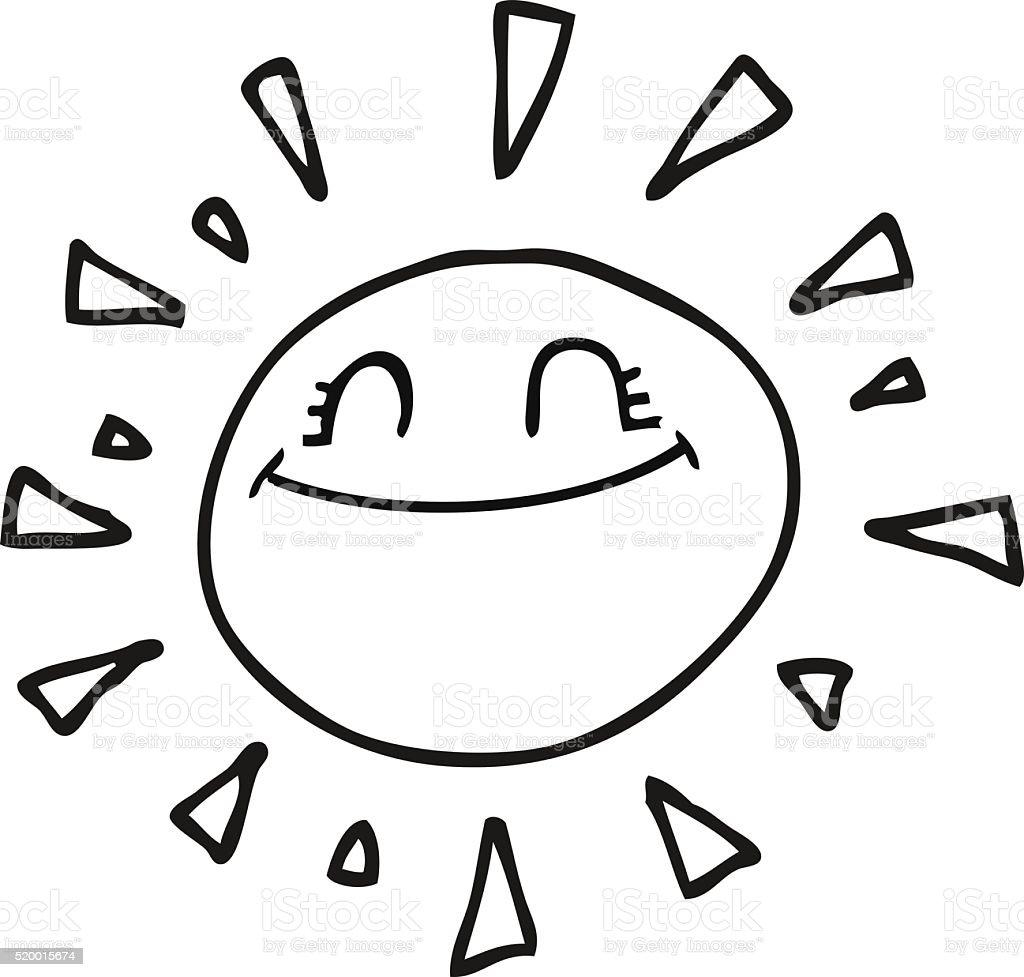 カットイラストハッピーな白黒太陽 - いたずら書きのベクターアート素材