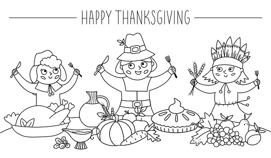 Happy black and white pilgrims and native American Indian give thanks for the food. Thanksgiving Day line characters and traditional holiday meal illustration. Vector outline autumn table scene
