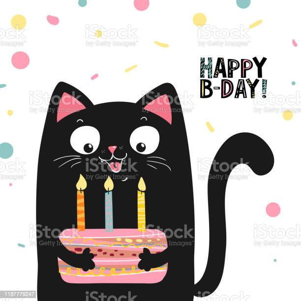 Happy black cat with cake and lettering happy birthday vector eps 10 vector id1157775247?b=1&k=6&m=1157775247&s=612x612&h=p0wiwxxiopggikomjyfqoovivro4gcguuv8lqqenhjq=