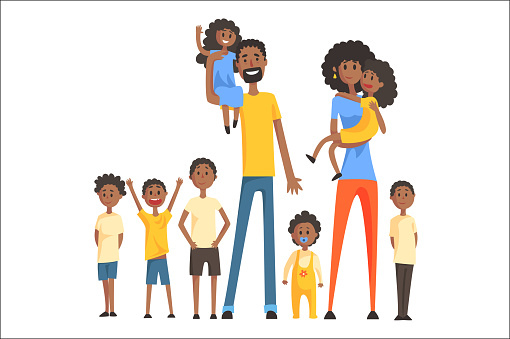 Happy Black Family With Many Children Portrait All The Kids And Babies Smiling Parents Colorful Illustration