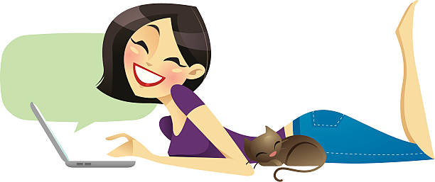 happy blogger (asian) - chihhang stock illustrations
