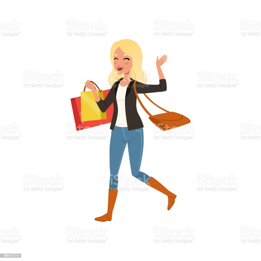 Happy blond woman walking with shopping bags from store. Big sale. Young girl with bag on shoulder. Flat vector design royalty-free happy blond woman walking with shopping bags from store big sale young girl with bag on shoulder flat vector design stock illustration - download image now