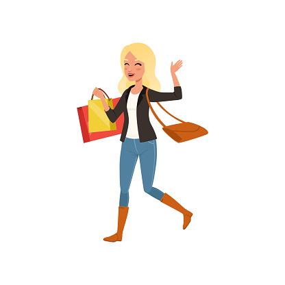 저장소에서 쇼핑백 함께 걷는 행복 한 금발 여자 큰 판매입니다 가방 어깨에 어린 소녀입니다 평면 벡터 디자인 걷기에 대한 스톡 벡터 아트 및 기타 이미지
