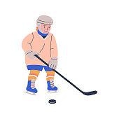 Happy blonde boy playing ice hockey game