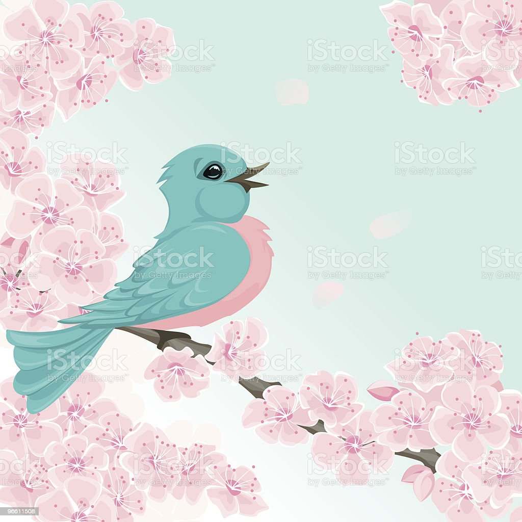 Happy bluebird with spring tree blossoms. - Royalty-free Animal Themes stock vector