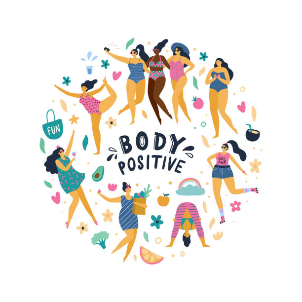 Happy body positive girls enjoy life. Attractive plus size woman doing yoga, sport, fun, love and other. Vector illustration. body positive stock illustrations