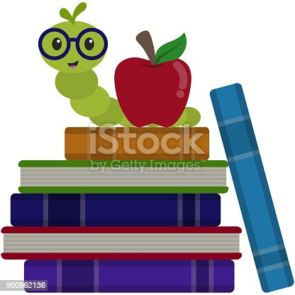 istock Happy Bookworm on Stack of Books Illustration 950962136