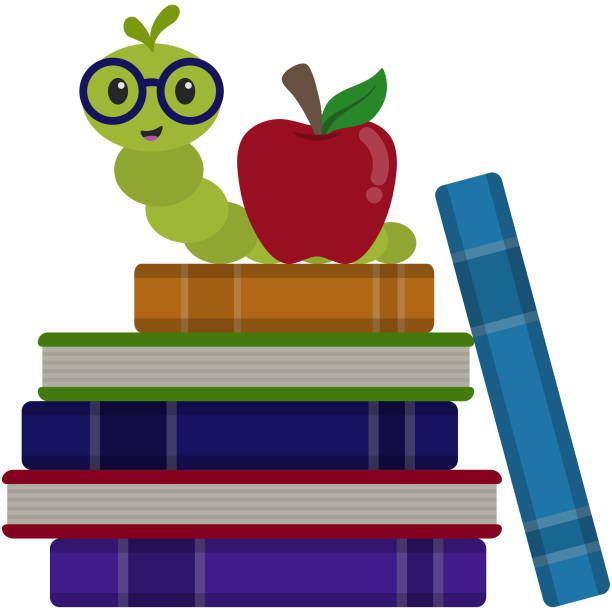Happy Bookworm on Stack of Books Illustration Cute happy bookworm wearing glasses next to red apple on stack of books isolated on white background book clipart stock illustrations
