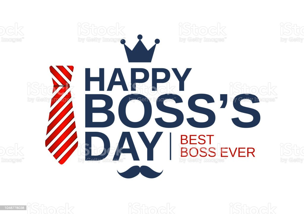 Happy Boss Day white poster, banner or background with red striped tie. Vector illustration. vector art illustration