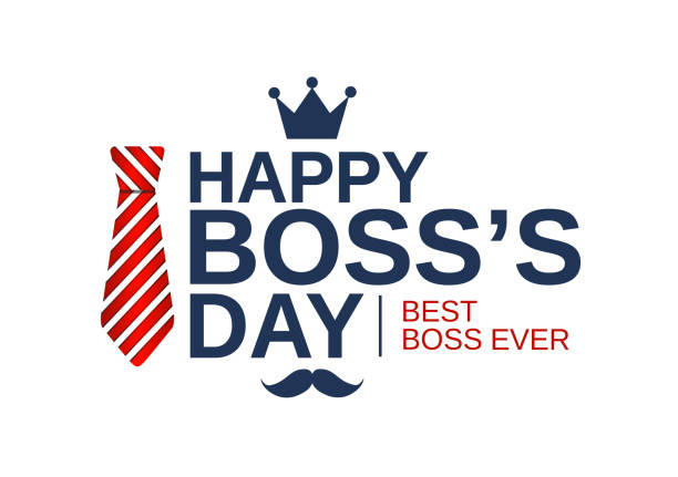 Happy Boss Day white poster, banner or background with red striped tie. Vector illustration. Happy Boss Day white poster, banner or background with red striped tie. Vector illustration. EPS10 happy boss stock illustrations