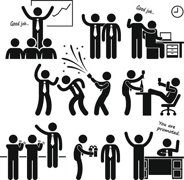 ilustrações, clipart, desenhos animados e ícones de feliz chefe recompensar funcionários - festa da empresa