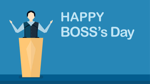 Happy Boss's day background with boss man that is speaking on stage. Vector character design of leader isolated on blue background with copy space. Happy Boss's day background with boss man that is speaking on stage. Vector character design of leader isolated on blue background with copy space. boss's day stock illustrations