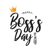 istock Happy Boss's Day lettering card. Vector 1179443179