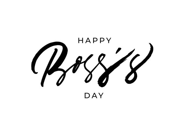 Happy Boss's day vector brush calligraphy. Hand drawn modern lettering isolated on white background. Happy Boss's day vector brush calligraphy. Hand drawn modern lettering isolated on white background. Typography quote for Boss's Day. Motivational print for post cards, brochure, poster, t-shirts, mug happy boss stock illustrations