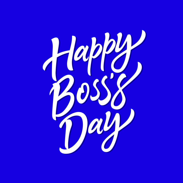 Happy Boss's Day - vector hand drawn brush pen lettering Happy Boss's Day - vector hand drawn brush pen lettering. White text on blue background. High quality calligraphy for invitation, print, poster. Celebration card for your employer, head, chief happy boss stock illustrations