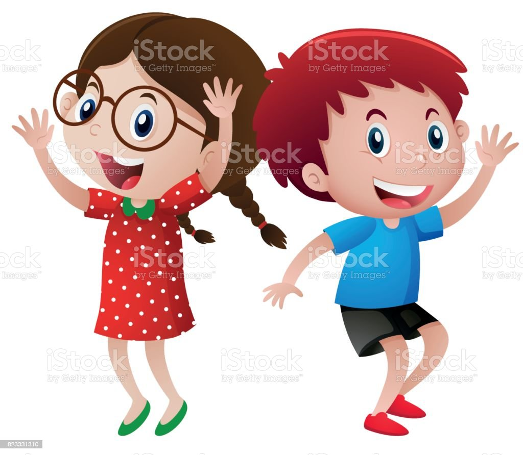 Happy boy and girl dancing vector art illustration