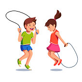 Two happy excited kids boy and girl jumping up together over skipping ropes they holding in hands. Childhood happiness, togetherness. Flat vector character illustrations isolated on white background