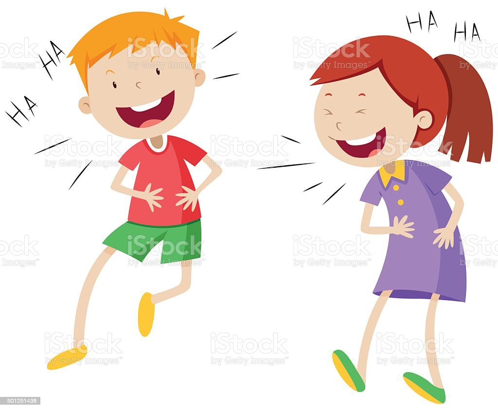 Happy boy and girl laughing vector art illustration