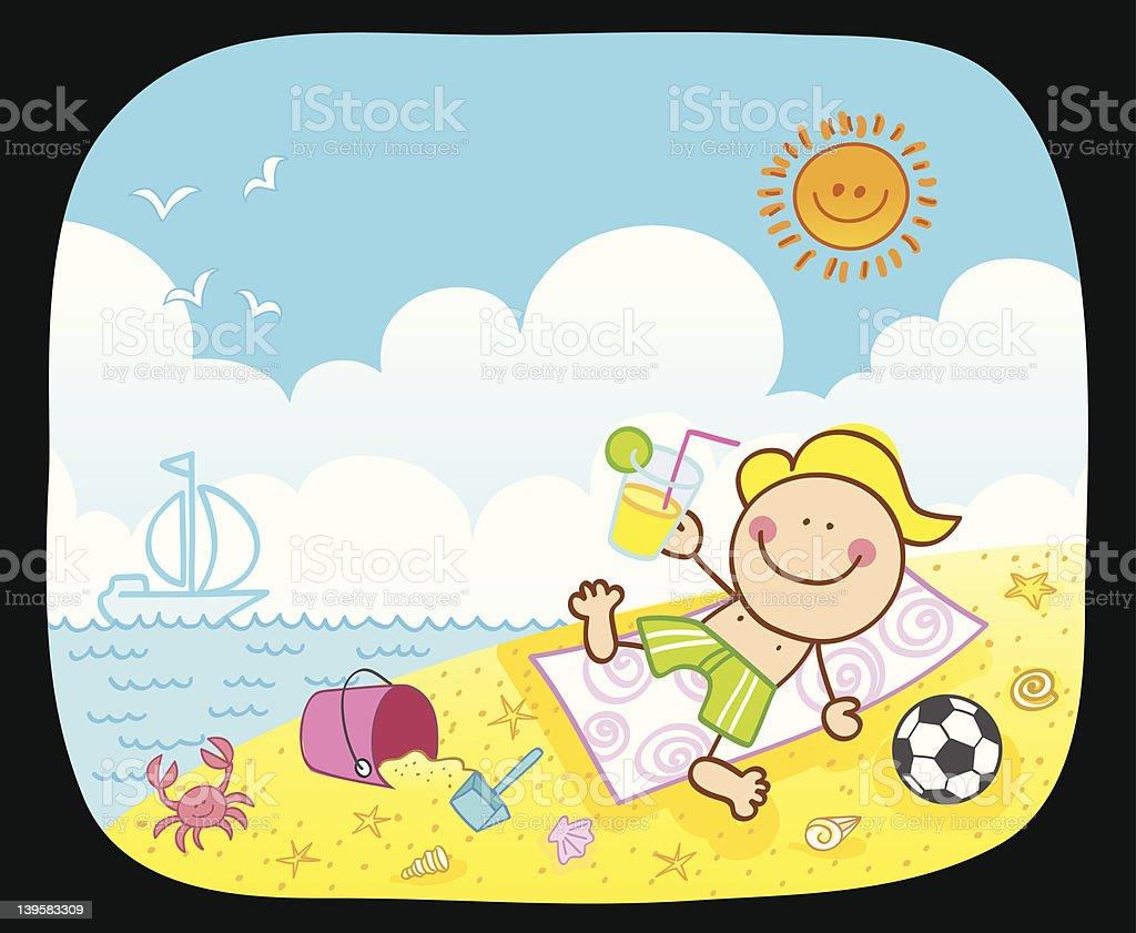 happy boy at beach cartoon royalty-free stock vector art