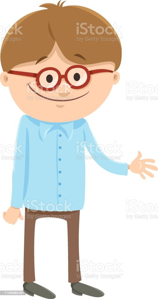 Happy Boy Cartoon Character With Glasses Stock Illustration