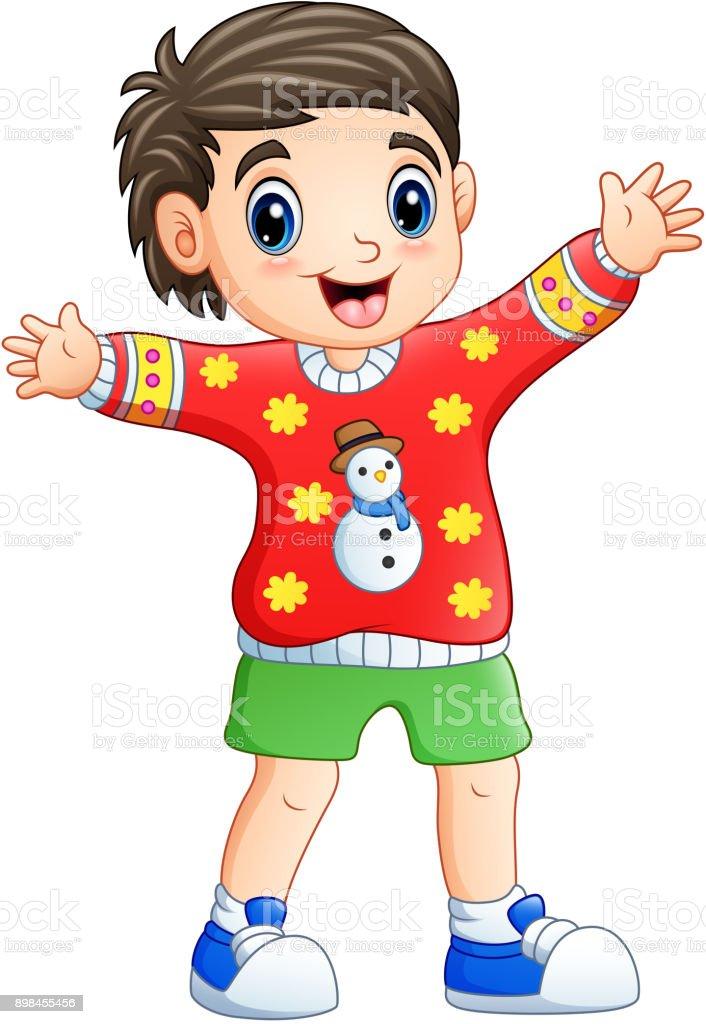 Ilustración de Dibujos Animados Niño Feliz Usando Suéter De Navidad ...