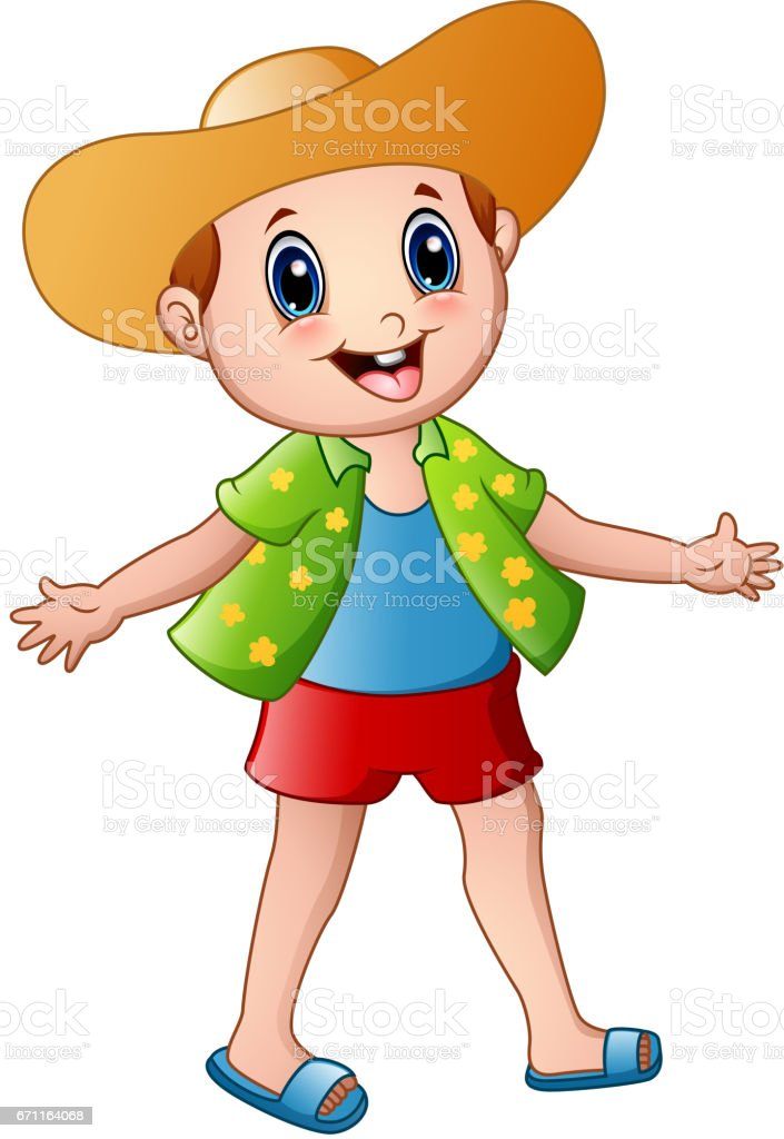 Happy Boy Cartoon With Summer Clothes And A Hat Vector Art Illustration