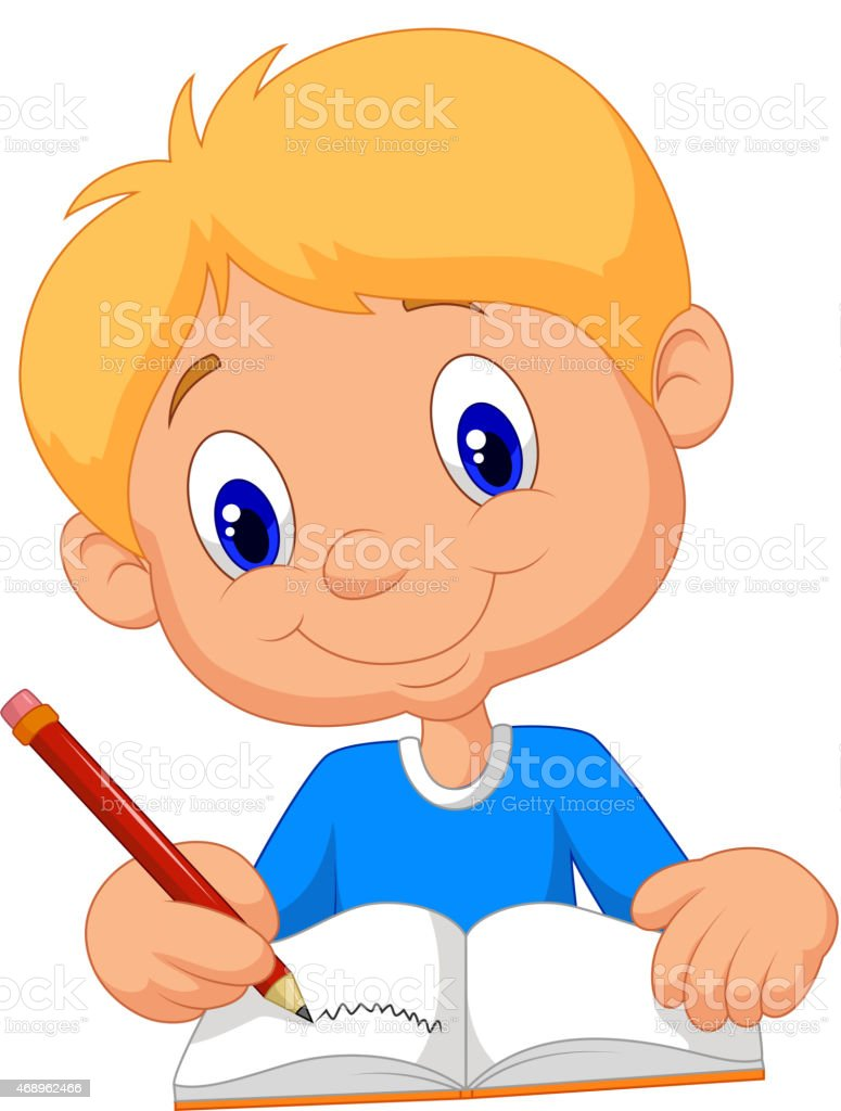 Happy boy cartoon writing in a book vector art illustration
