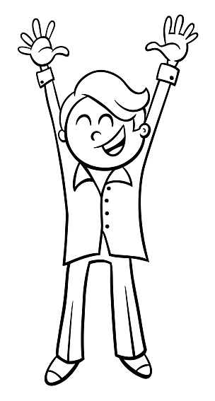 Happy Boy Character Cartoon Coloring Page Stock