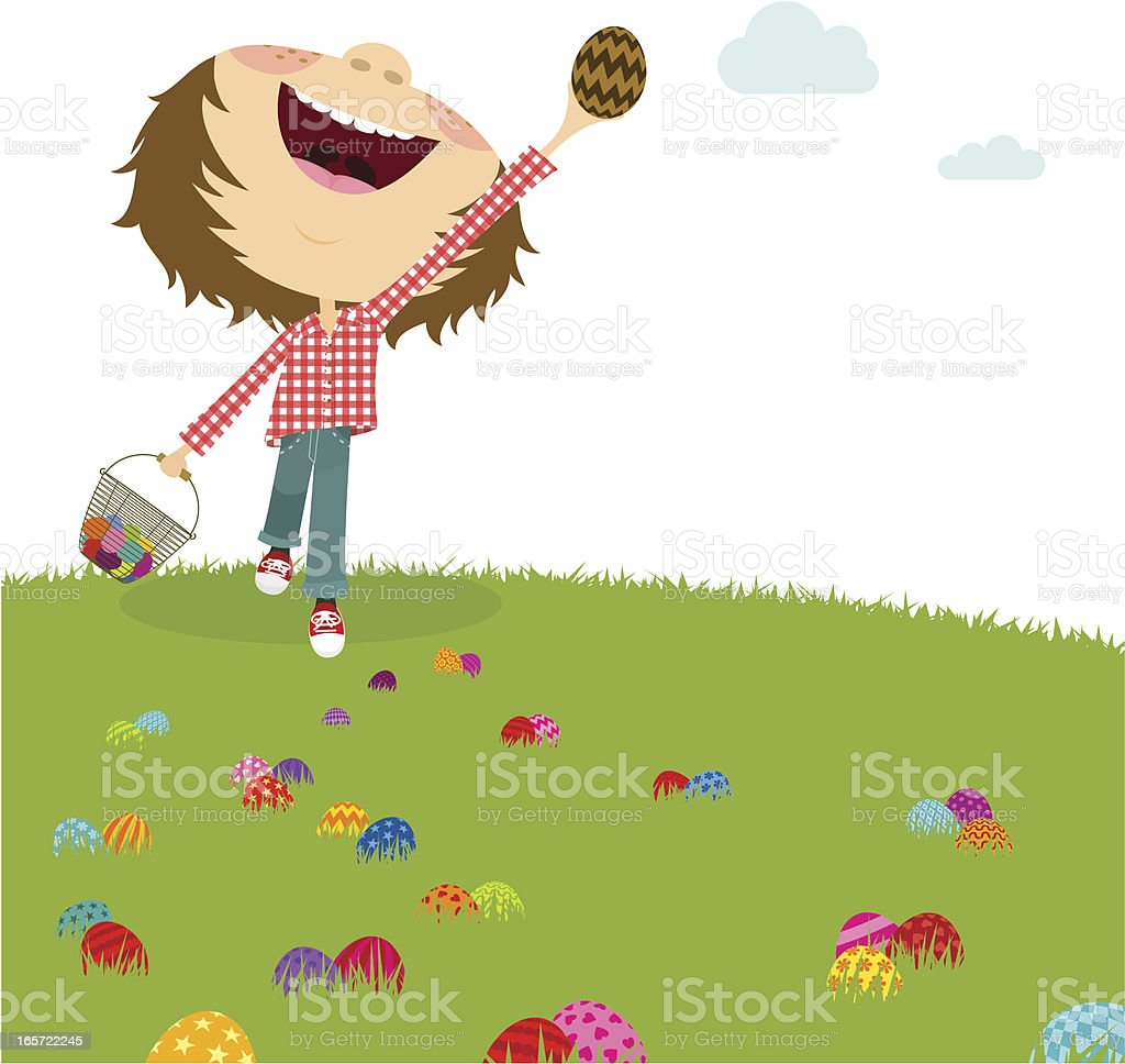 Happy boy. Easter egg hunt. Kids party royalty-free stock vector art