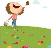 Happy boy. Easter egg hunt. Kids party