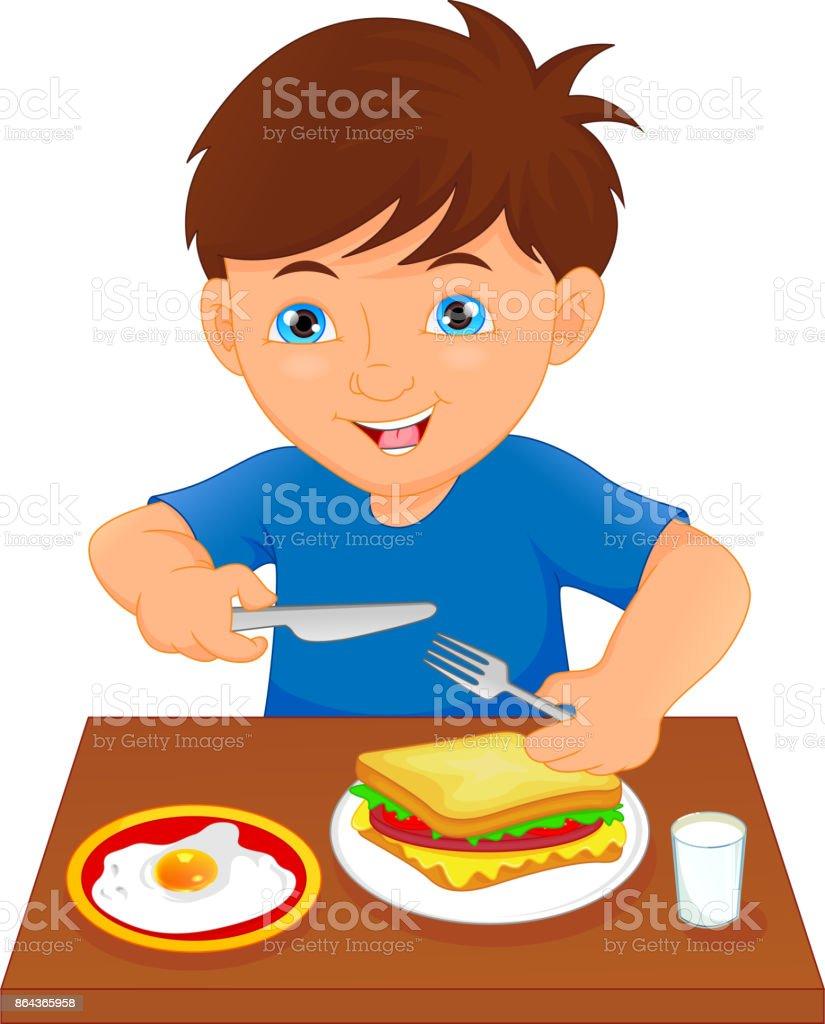 Aan De Tafel.Gelukkige Jongen Eten Aan De Tafel Stockvectorkunst En Meer Beelden