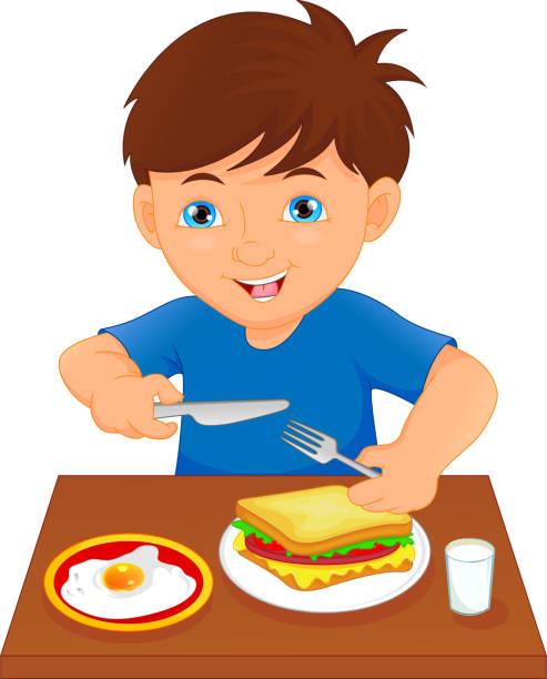 Cute Little Boy Cartoon Eats Vegetable Using Fork ...