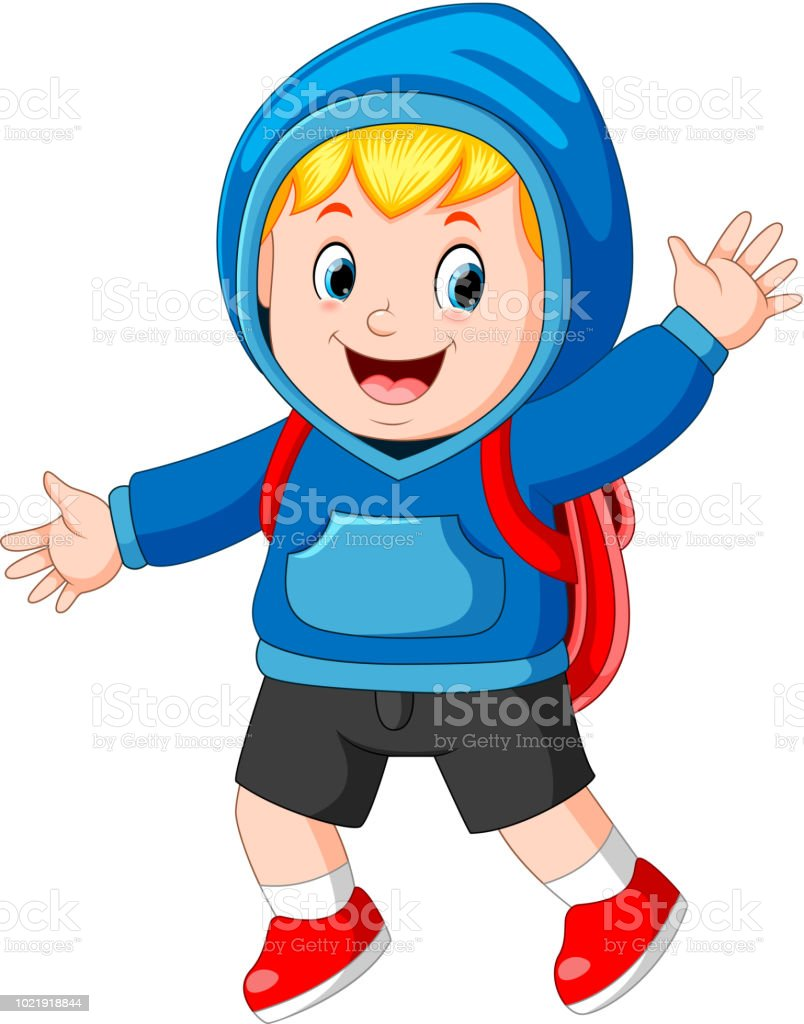 happy boy going to school vector art illustration