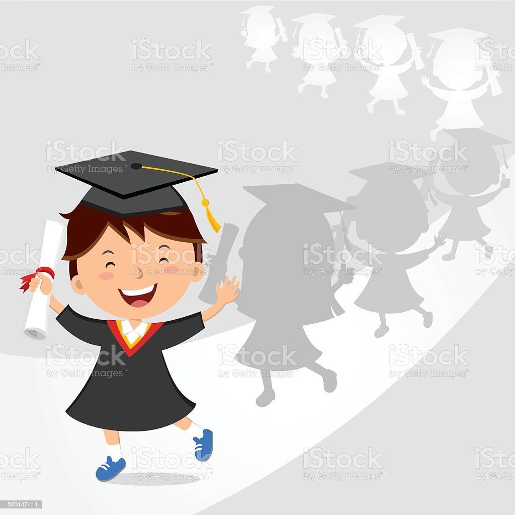 Happy boy graduation march royalty-free stock vector art