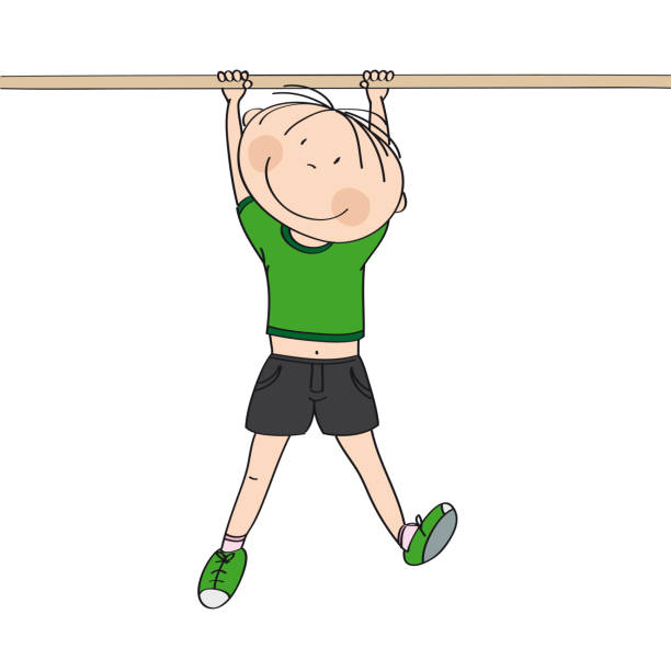 happy boy hanging on a gymnastics bar or a monkey bar in the gym or on the playground - original hand drawn illustration - monkey bars stock illustrations, clip art, cartoons, & icons