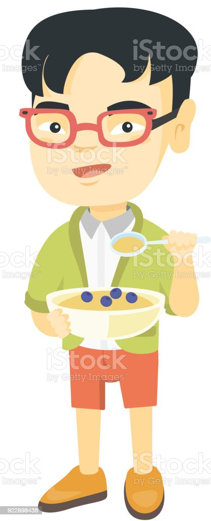 Happy boy holding a spoon and bowl of porridge vector art illustration