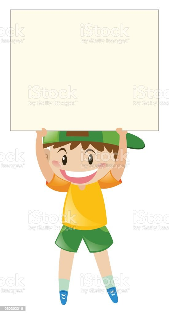 Happy boy holding blank sign royalty-free happy boy holding blank sign stock vector art & more images of art