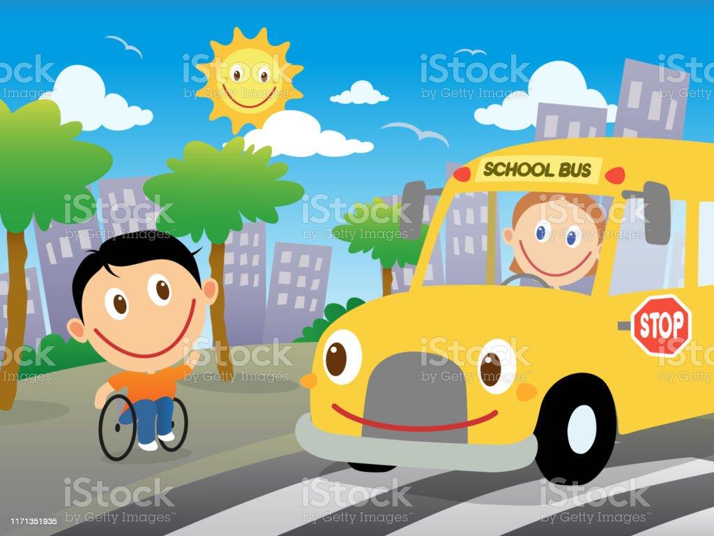 Happy Boy In Wheelchair Is Going To Catch The School Bus Vector