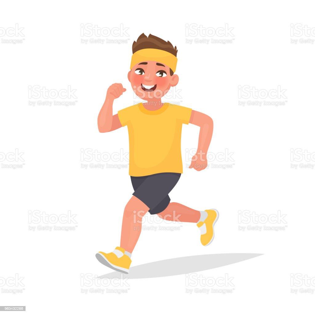 Happy boy is running around. Vector illustration in cartoon style - Grafika wektorowa royalty-free (Biegać)