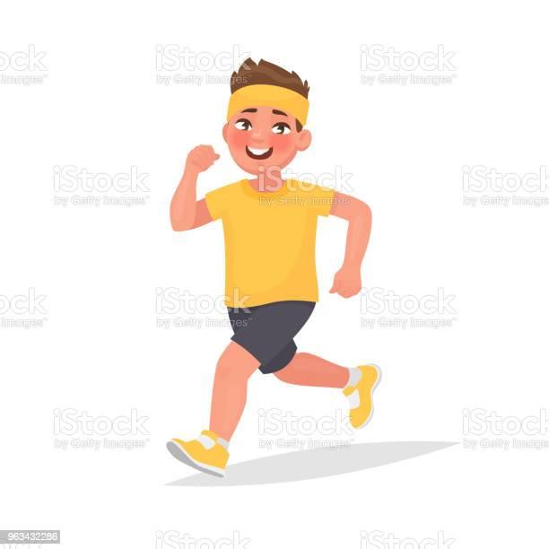 Szczęśliwy Chłopiec Biega Ilustracja Wektorowa W Stylu Kreskówki - Stockowe grafiki wektorowe i więcej obrazów Biegać