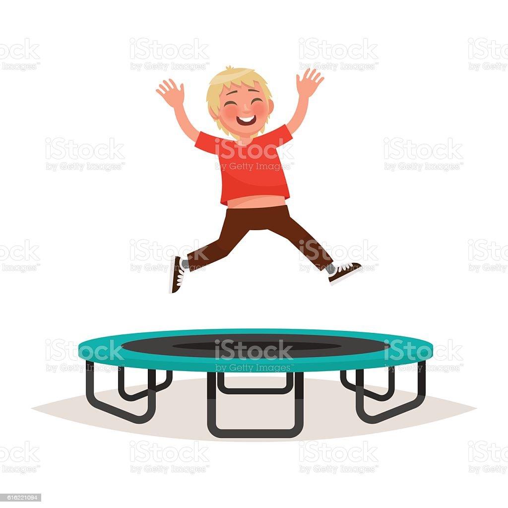 Happy boy jumping on a trampoline. Vector illustration vector art illustration