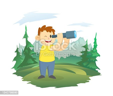 istock A happy boy looks through a telescope. A boy scout on the background of a mountain landscape. Observations of nature. Vector illustration, isolated on white. 1342798590