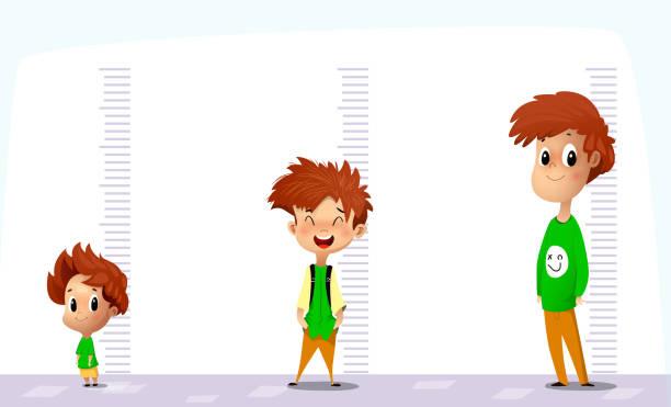 stockillustraties, clipart, cartoons en iconen met happy boy meet zijn groei in verschillende leeftijden - lang lengte