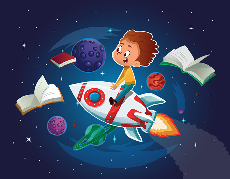 Happy Boy playing and imagine himself in space driving an toy space rocket. Books, planets, rocket and stars in a background. Vector cartoon illustration.